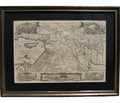 Large Medieval Map of Canaan - Israel and the world surrounding it, Circa. 1580 C.E., Professionally custom framed with museum grade matting
