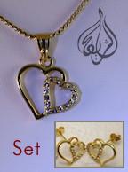 heart theme pendant and earrings set