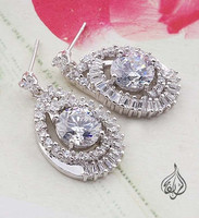 earring for women - rhodium plated