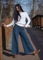 Very Wide Leg Denim Pants Blue