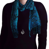 womens neck scarf, turquoise