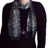women's neck scarf, head scarf, gray animal print