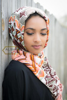 hijab scarf, head wrap, geometric art