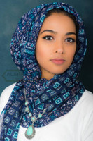 blue hijab scarf, head wrap, geometric art, latest
