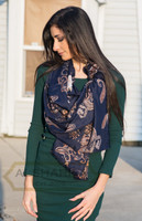 navy blue premium paisley scarf, low slip index