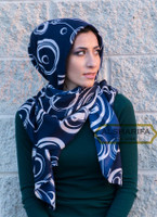 Circles Muslim Hijab Scarf Navy Blue