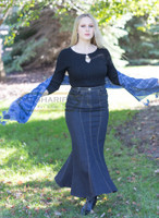 Very Long Mermaid Denim Skirt - Blue Premium Fabric