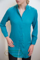 Teal Dress Blouse, Green Top, pair with Jeans