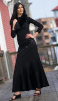 very long skirt fish tail black grommets cotton