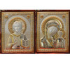 Matched Set Italian Silver Wedding Icons: Christ & Theotokos: Large Size