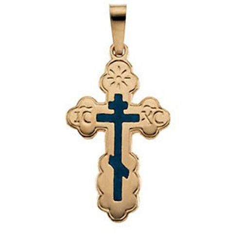 14KYG St. Olga Style Cross with Blue Enamel- Medium- FREE 2DAY SHIPPING!*