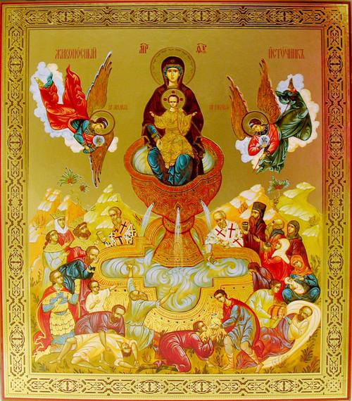 Theotokos of the Life Giving Spring Gold Foil Icon- XL