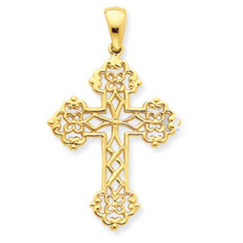 14KYG Lace Cross- 1 1/2""