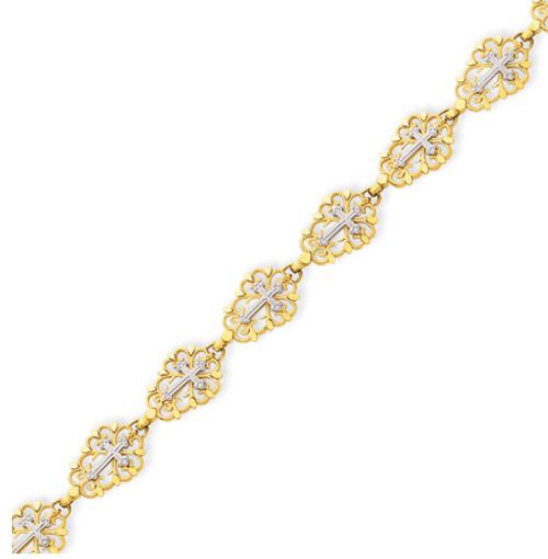 14KYG Two-tone Diamond Cut Cross Bracelet