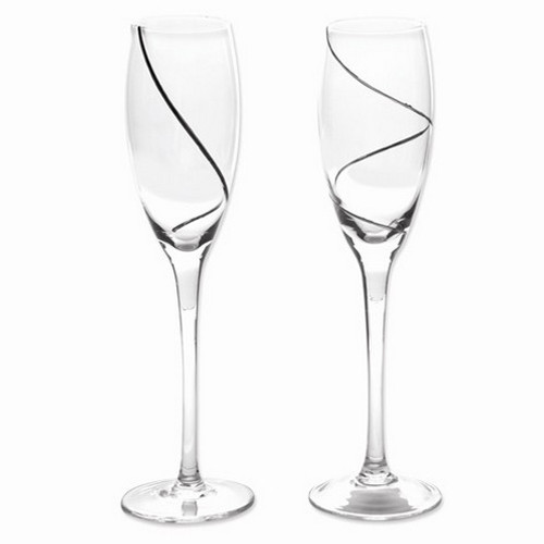 Silver-Plated Swirl Glass Toasting Flutes- Set of 2