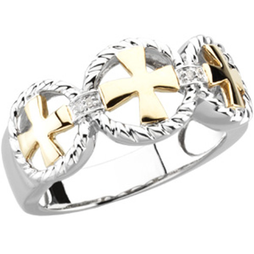 14KYG, 14KWG and Genuine Diamond Men's Cross Wedding Ring