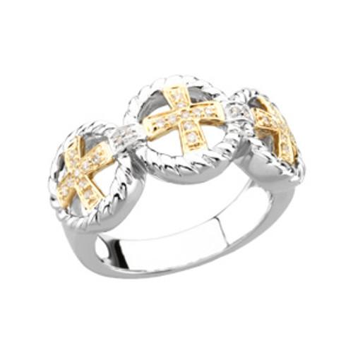 14KYG, 14KWG and Genuine Diamond Ladies's Cross Wedding Ring