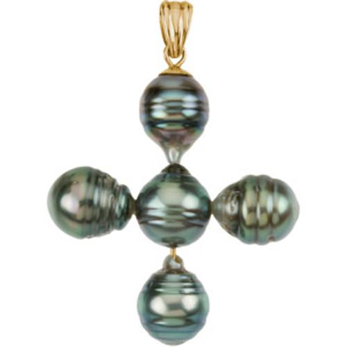 "14KYG and Genuine Tahitian Pearl Cross- 1 1/4"""