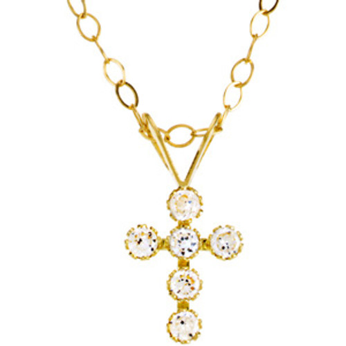 "14KYG and CZ Cross Pendant with 15"" Chain"