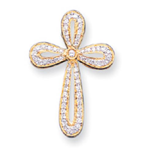"""14KYG Genuine Diamond Looped Cross Pendant- 1 3/8"""""""