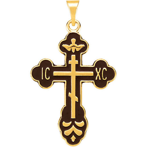 14KYG St. Xenia Style Cross with Black Enamel