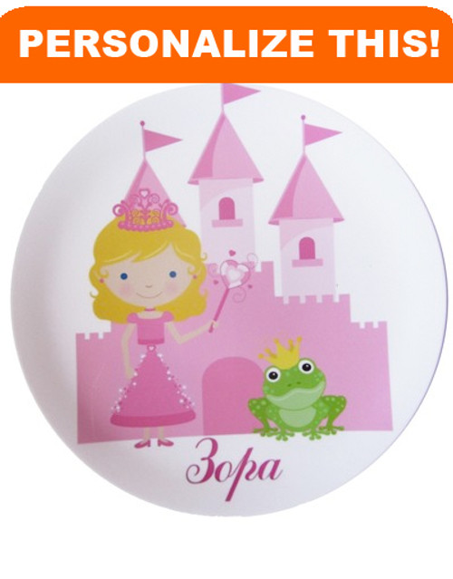 Personalized Dishes: Princess & Frog Design- ANY LANGUAGE!