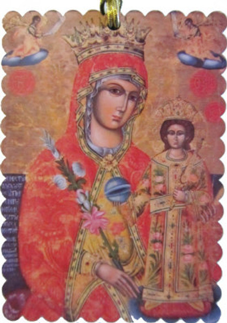 Virgin of Fragrant Flower Scalloped Rectangle Acrylic Christmas Ornament