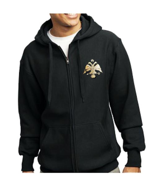 Embroidered Byzantine Eagle Flag Zip Sweatshirt- Men's