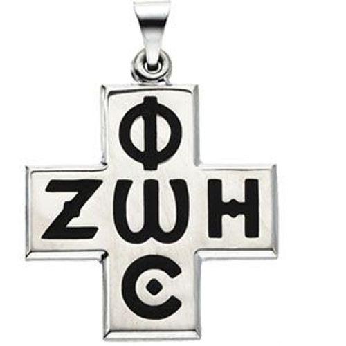 "Sterling Silver Phos Zoe Enameled Cross with 24"" SS Chain"