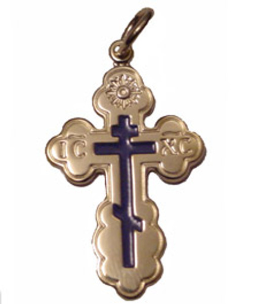 10KYG St. Olga Style Cross with Blue Enamel- Large