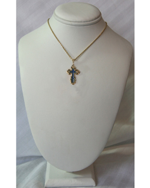 10KYG St. Olga Style Cross with Blue Enamel- Medium