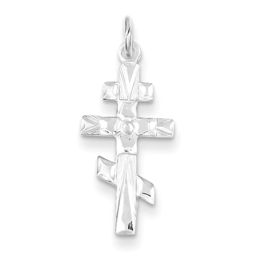 Sterling Silver Classic 3-Bar Cross: Accent Cut: S- 7/8""