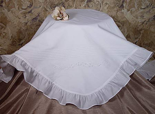 Handmade Cotton Embroidered Blanket with Ruffles