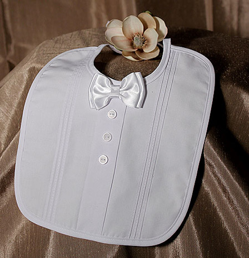 Handmade Christening Bib with Bow Tie