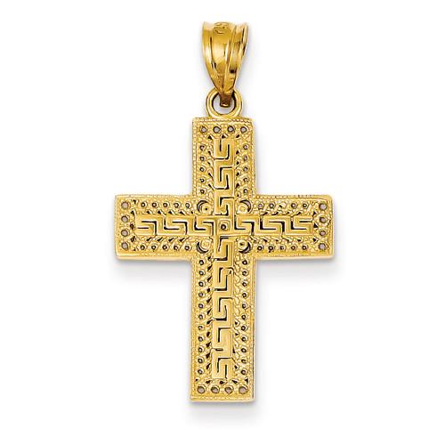 "14KYG Greek Filigree Cross Pendant- 7/8"""