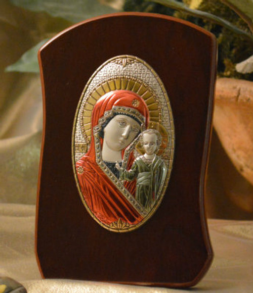 Italian Silver Icon of Christ and the Theotokos on Curved Wood (Colored)