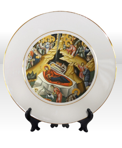 "8 1/4"" Porcelain Icon Plate with 24K Gold Trim: Nativity of Christ"