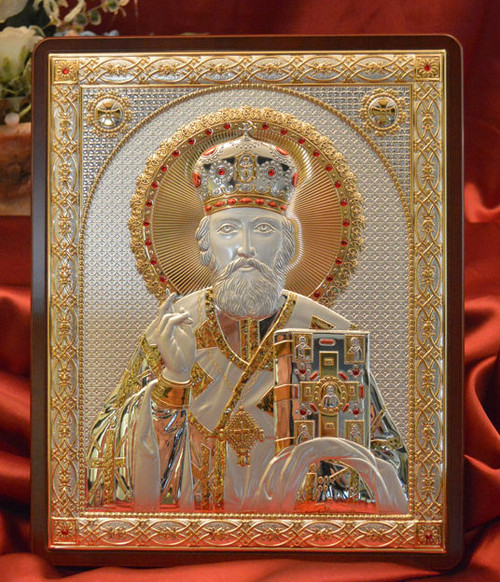 St. Nicholas Italian Silver Icon: 4 Sizes Available
