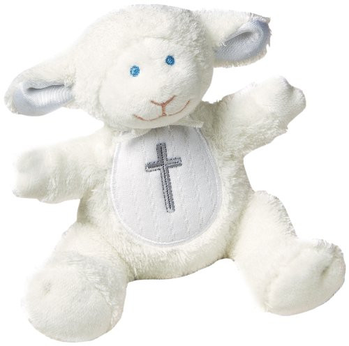 Little Lamb Christening Plush Rattle Stuffed Animal