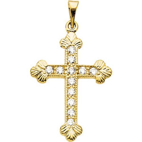 """14KYG Genuine Diamond Byzantine Cross Pendant- 7/8"""""""