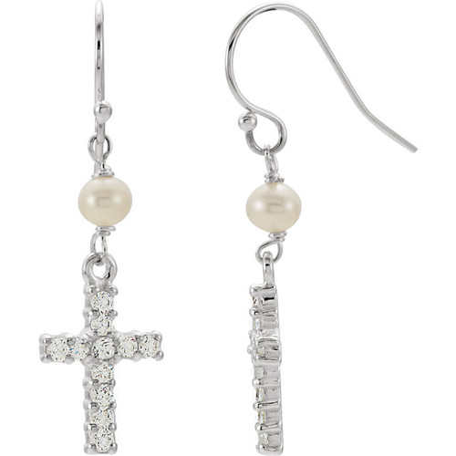 Sterling Silver Freshwater Cultured Pearl & CZ Cross Earrings