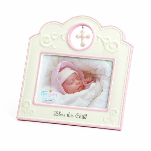 Bless This Child Photo Frame- Pink