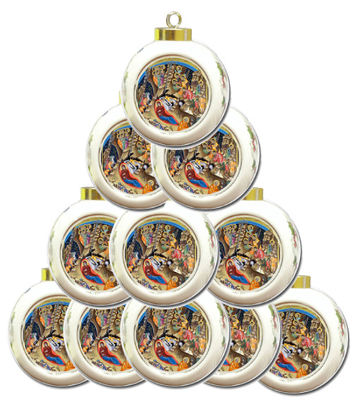 Nativity Scene Ceramic Bulb Ornaments- Set of 10