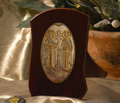 Italian Silver Icon of Ss. Constantine and Helen on Curved Wood