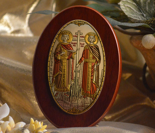 Italian Silver Icon of Ss. Constantine and Helen on Wood (Colored)