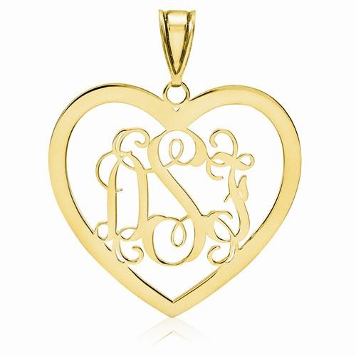 """14KYG Heart Monogram Pendant 1 1/8"""""""