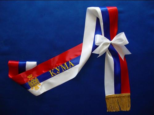 "Gold-Trimmed Trobojka Sash: Kuma ""КУМА"" with Grb (Crest)"