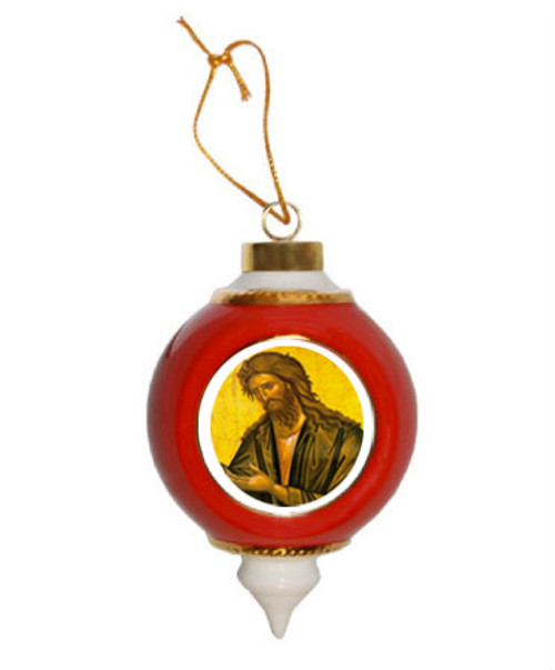 Red Porcelain Bulb Ornament: St. John the Baptist