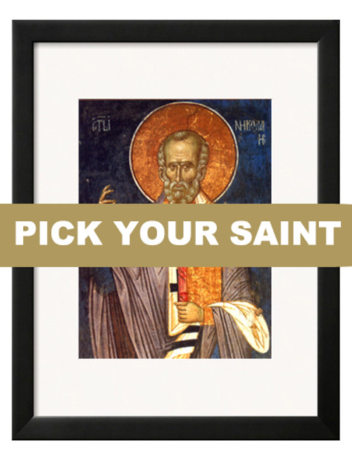 "Pick-Your-Saint Matted and Framed Icon Print: 11 x 13"" Frame"