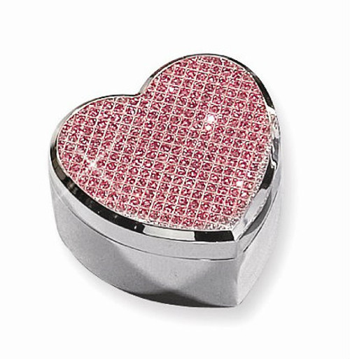 Jeweled Heart Hinged Jewelry Box
